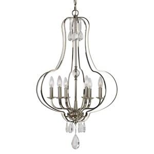 uttermost lighting fixtures genie 6 light polished nickel chandelier - Uttermost Lights