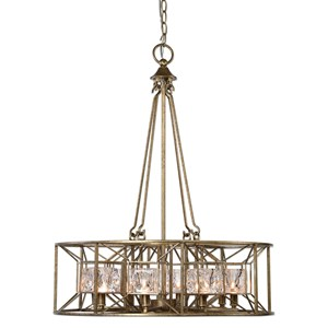 Uttermost Lighting Fixtures Ghiaccio 8 Light Swedish Iron Pendant