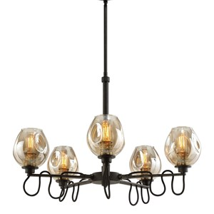 Uttermost Lighting Fixtures Fritz 5 Light Gold Glass Chandelier