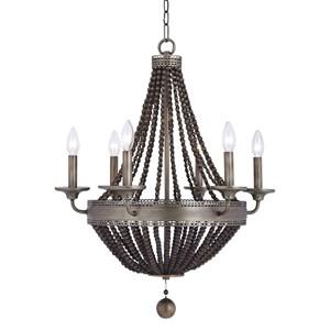 Uttermost Lighting Fixtures Thursby Brass 6 Light Beaded Chand
