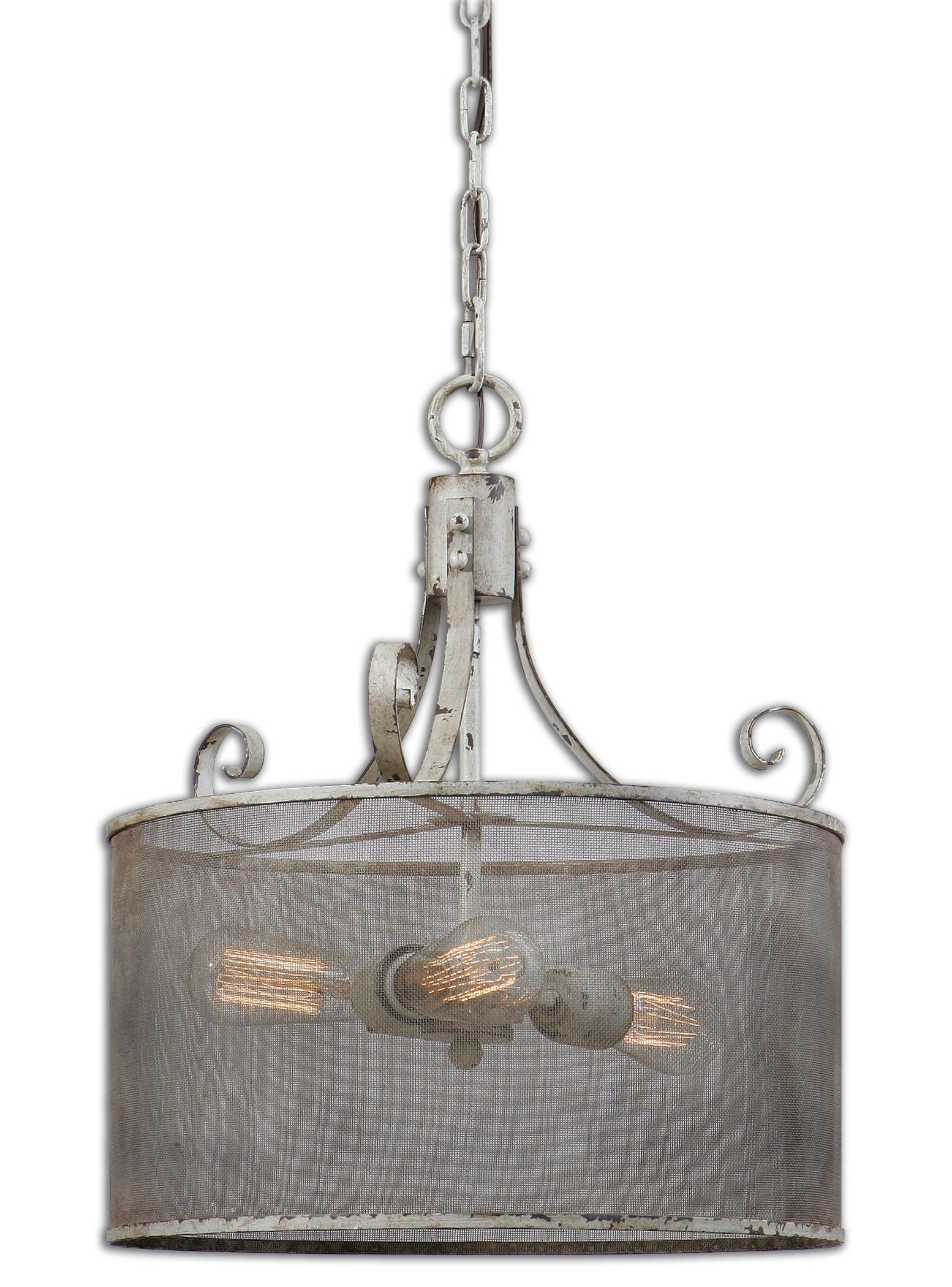 Uttermost Lighting Fixtures Pontoise 3 Light Drum Pendant - Item Number: 22004