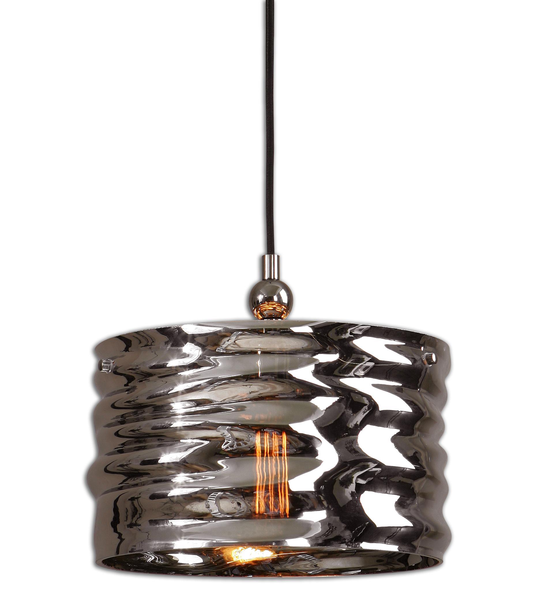 Uttermost Lighting Fixtures Aragon 1 Light Nickel Glass Pendant - Item Number: 22011
