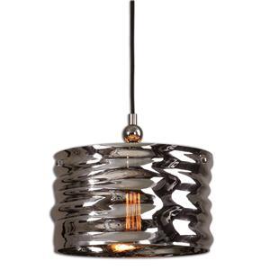 Uttermost Lighting Fixtures Aragon 1 Light Nickel Glass Pendant