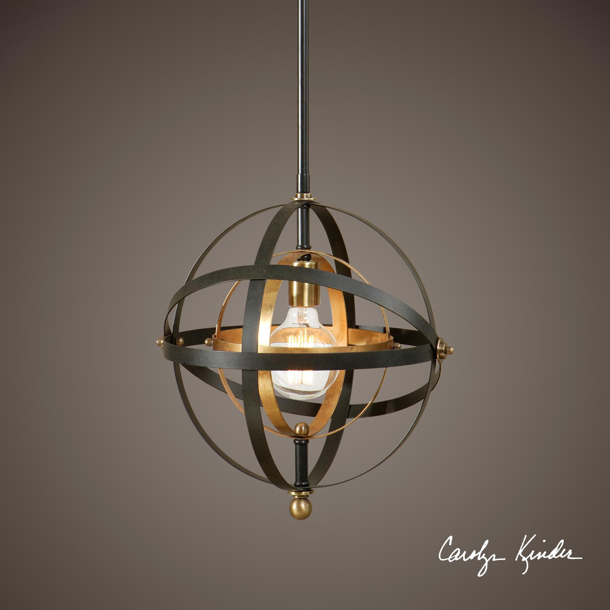 Hanging Light Spheres: Uttermost Lighting Fixtures 22039 Rondure 1 Light Sphere