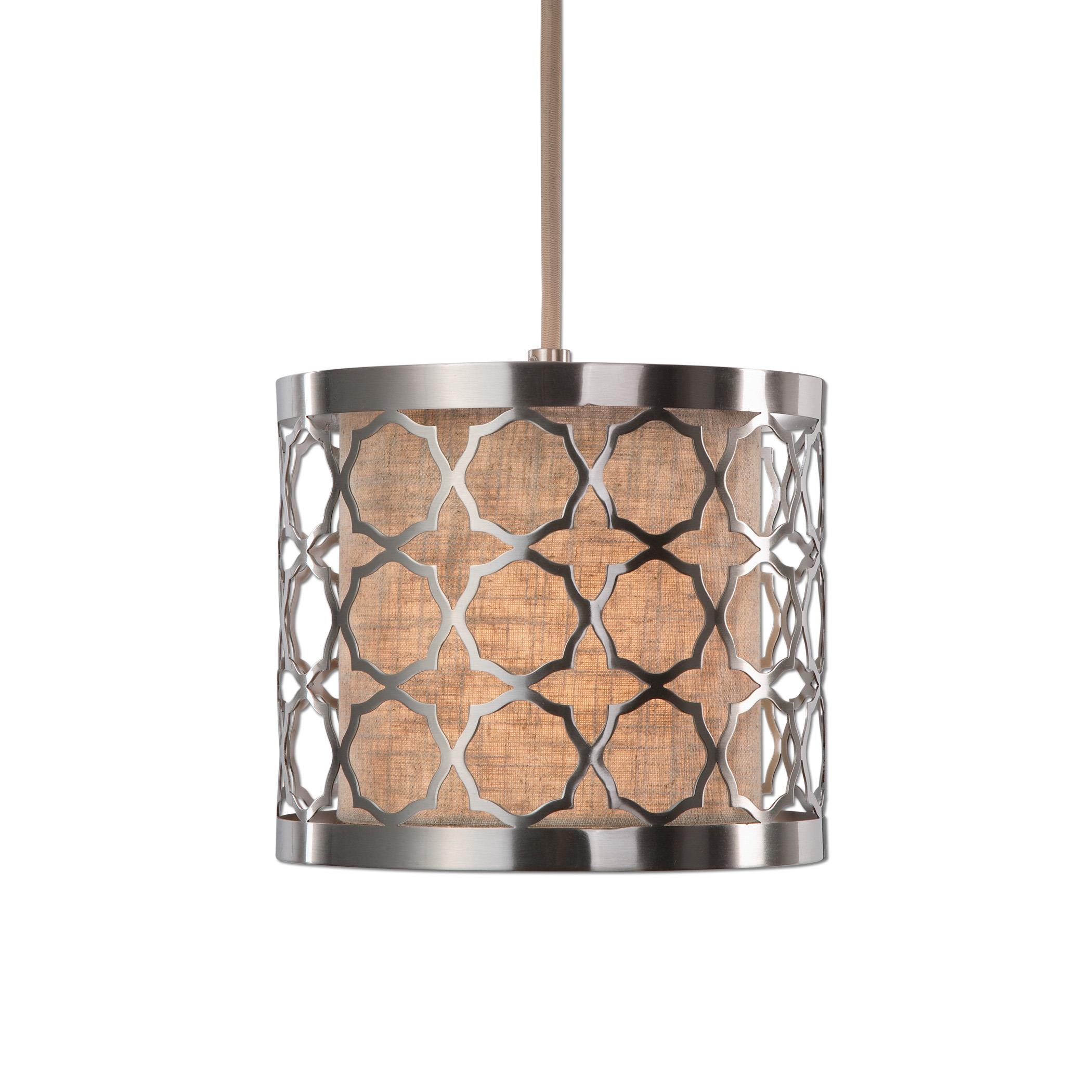 Uttermost Lighting Fixtures Harwich 1 Light Brushed Nickel Mini Pendant - Item Number: 22047