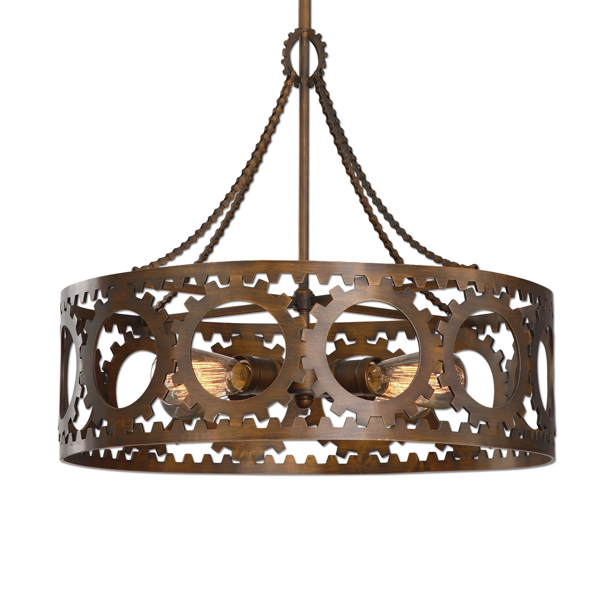 Uttermost Lighting Fixtures Antrim 4 Light Bronze Drum Pendant - Item Number: 22060
