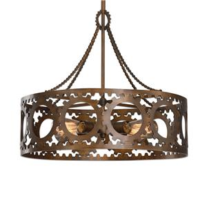 Uttermost Lighting Fixtures Antrim 4 Light Bronze Drum Pendant