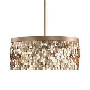 Uttermost Lighting Fixtures Tillie 3 Light Textured Gold Pendant