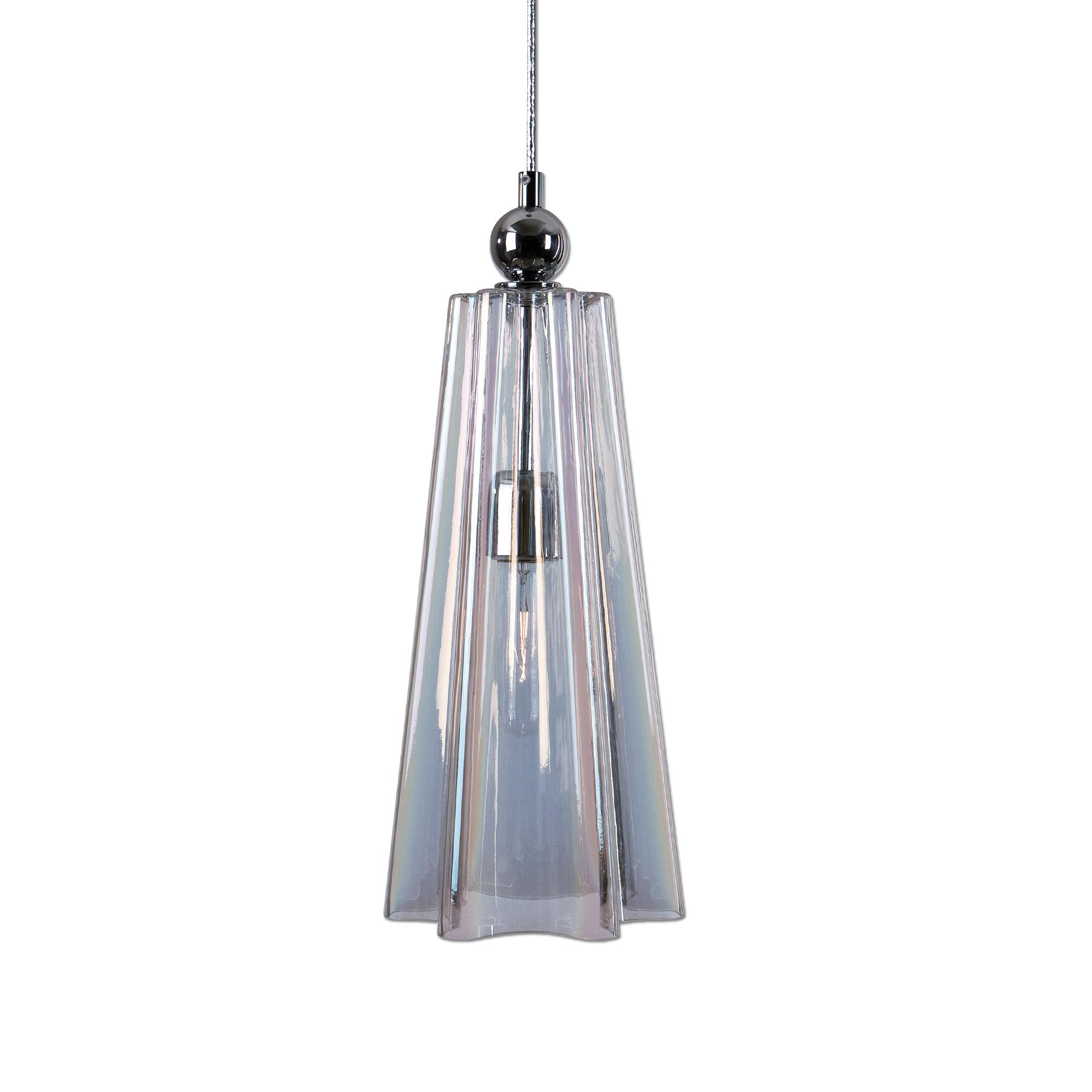Uttermost Lighting Fixtures Beckley 1 Light Fluted Glass Mini Pendant - Item Number: 22068
