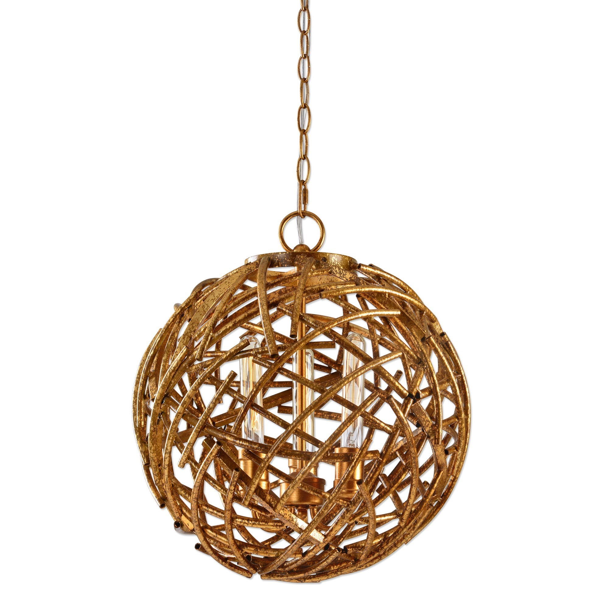 Uttermost Lighting Fixtures Sphera 3 Light Gold Pendant - Item Number: 22090