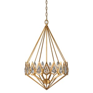 Uttermost Lighting Fixtures Eclatant 4 Light Gold Diamond Pendant
