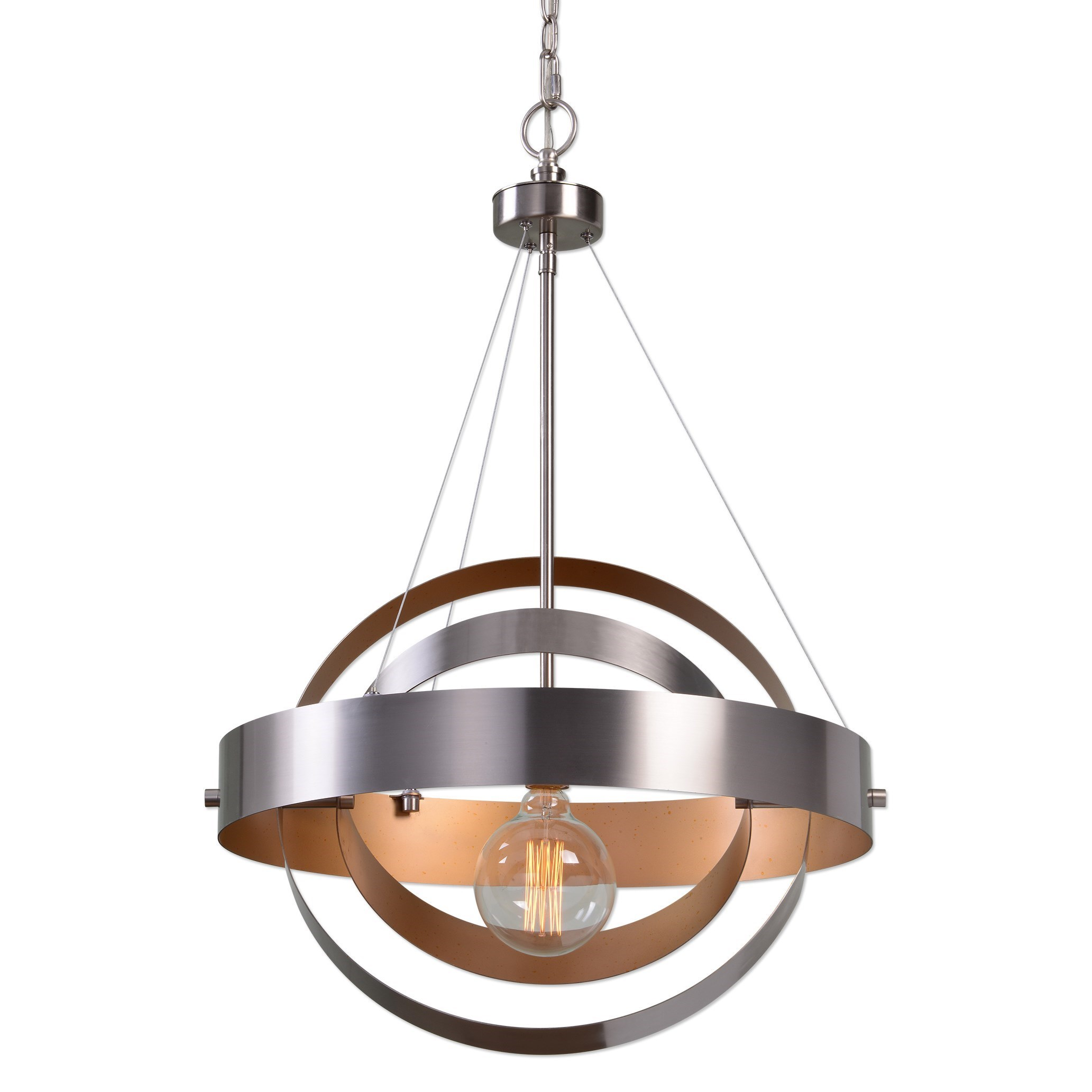 Uttermost Lighting Fixtures Anello 1 Light Brushed Nickel Pendant - Item Number: 22095