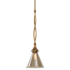 Uttermost Lighting Fixtures Glam 1 Light Gold Mini Pendant