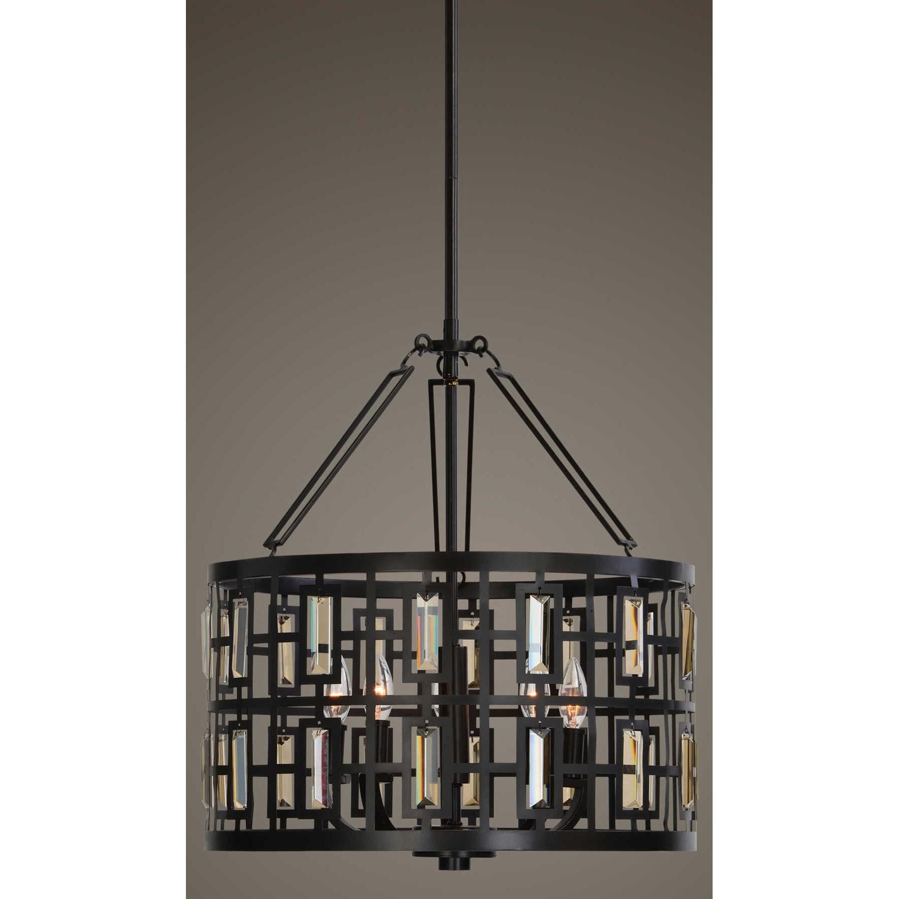 Uttermost Lighting Fixtures Rhombus 5 Light Bronze Pendant