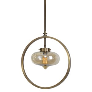 Uttermost Lighting Fixtures Namura 1 Light Brass Mini Pendant