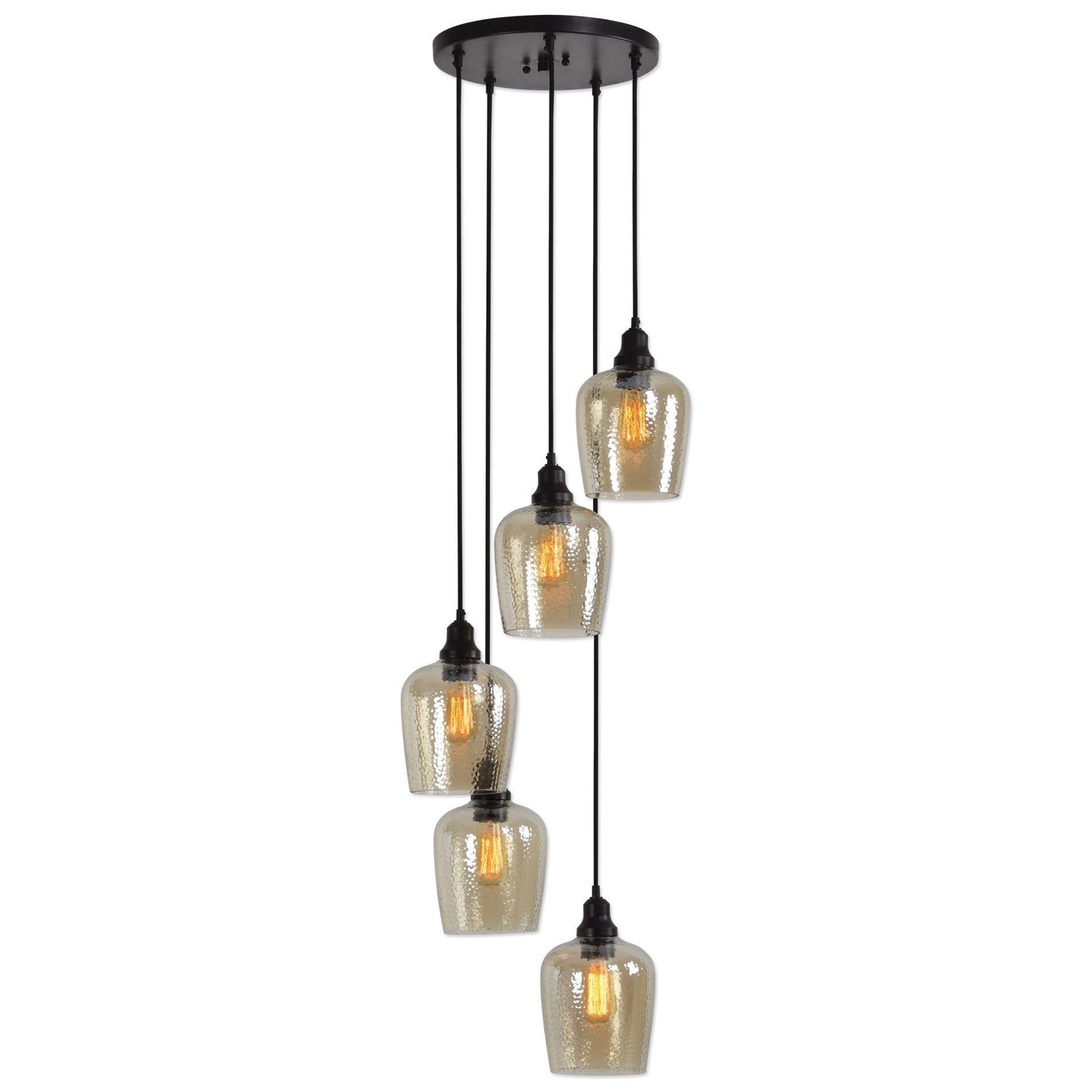 Uttermost Lighting Fixtures Aarush 5 Light Glass Cluster