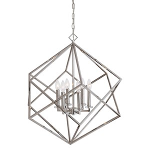 Euclid 6 Light Nickel Cube Pendant