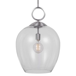 Calix Nickel 1 Light Glass Pendant