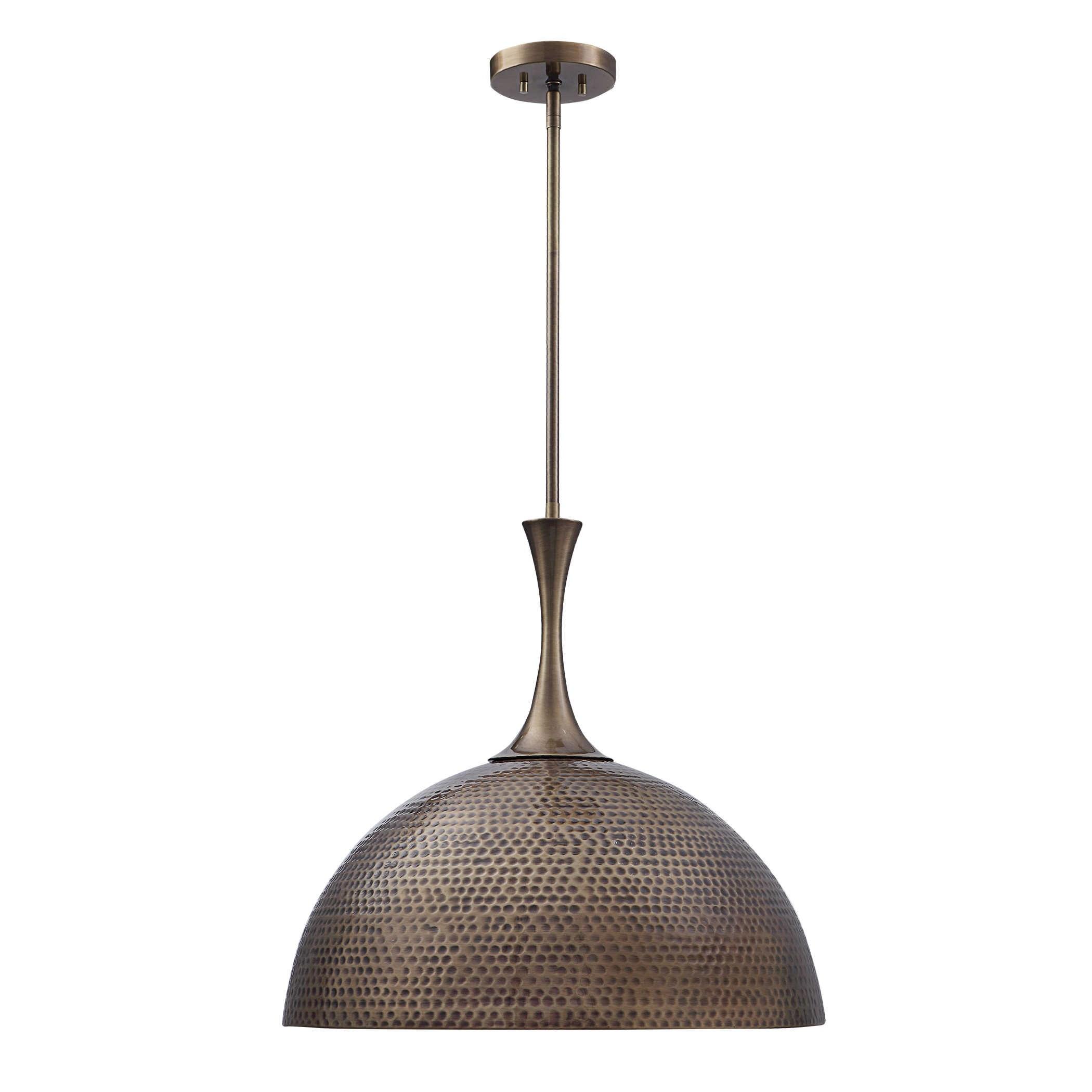 Raynott Brass 1 Light Dome Pendant