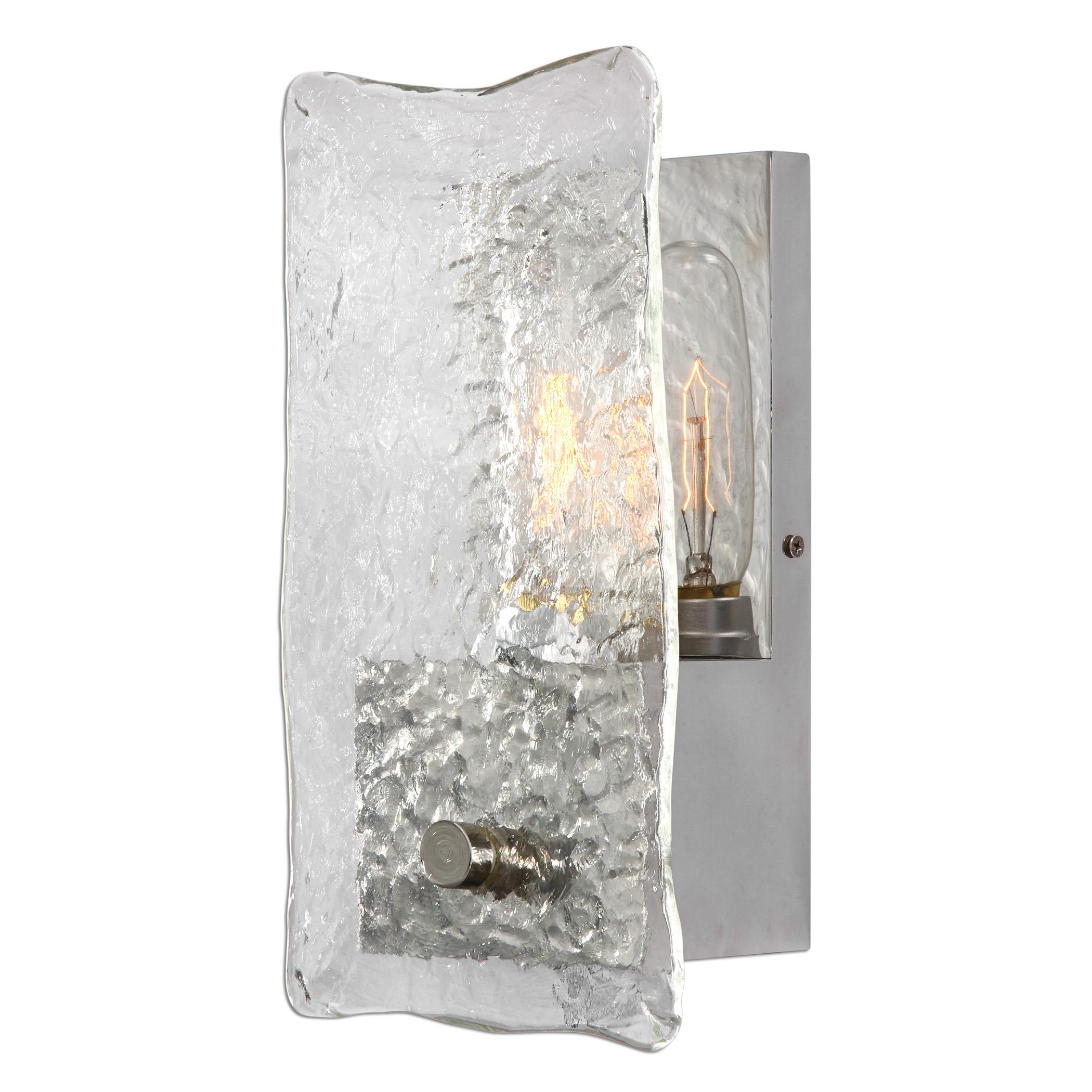 Uttermost Lighting Fixtures Cheminee 1 Light Textured Glass Sconce - Item Number: 22498