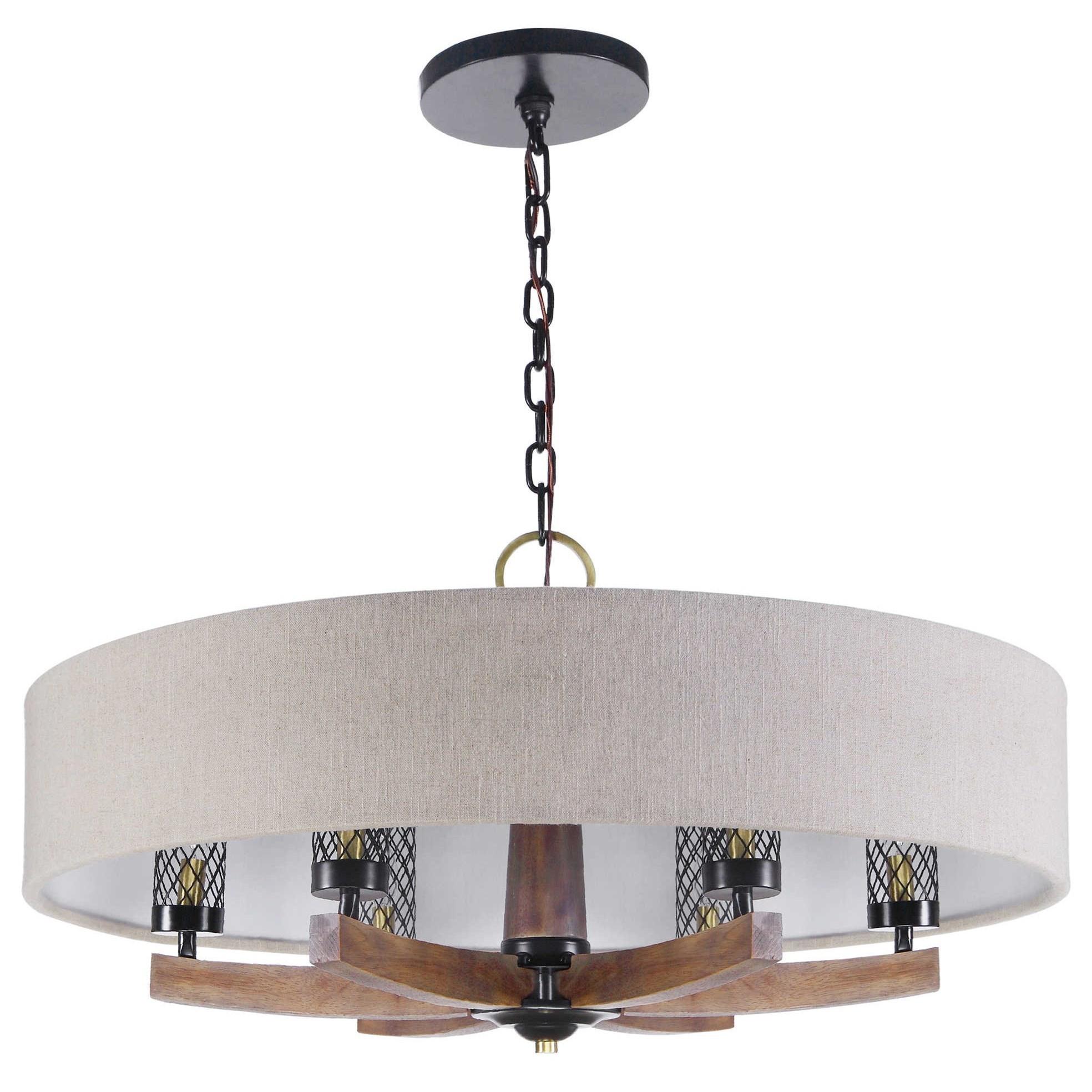 Uttermost Lighting Fixtures Chandeliers 21331 Woodall 6 Light Drum Chandelier Dunk Bright Furniture Pendant Lights Chandeliers