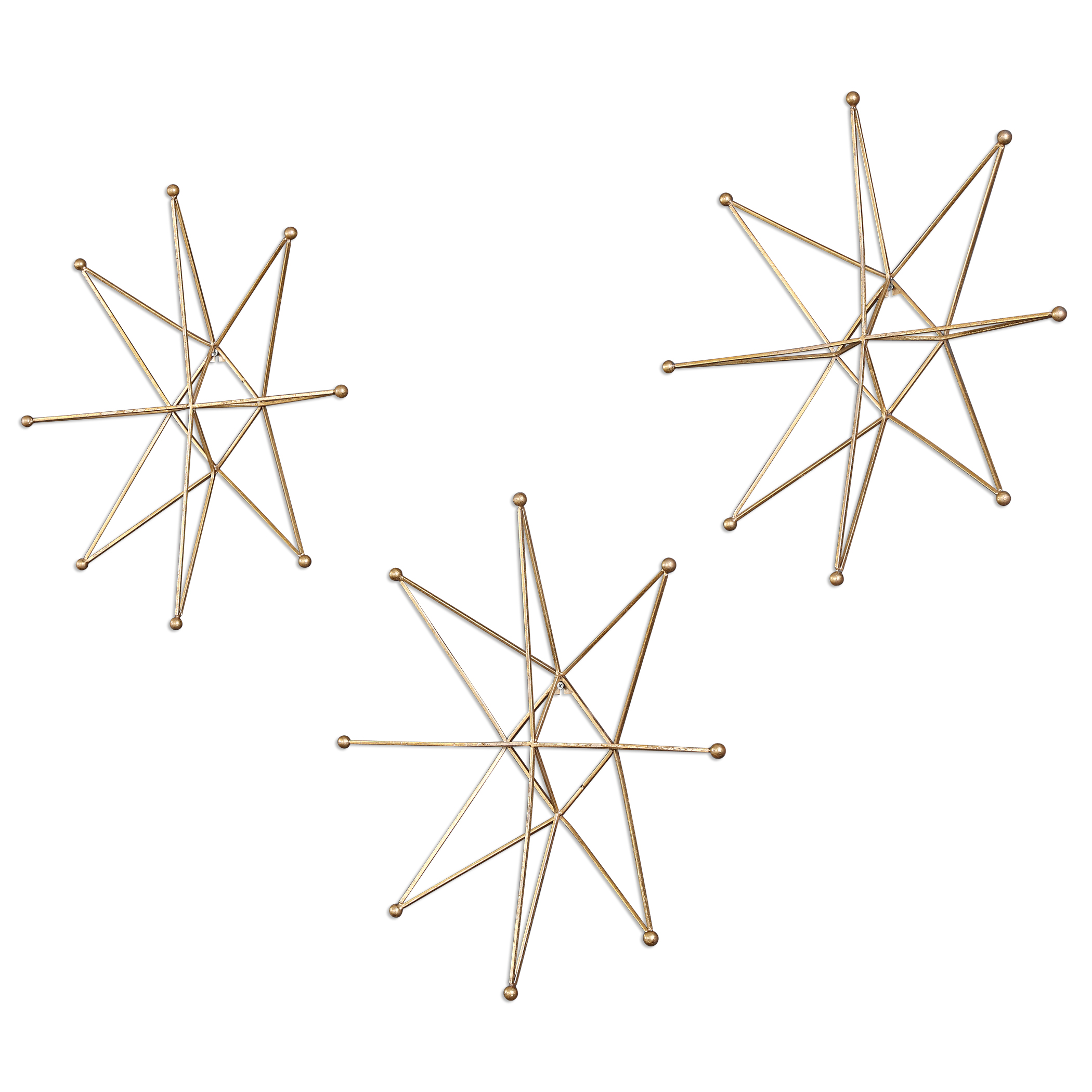 Uttermost Alternative Wall Decor Gold Stars Wall Art, S/3 - Item Number: 04035