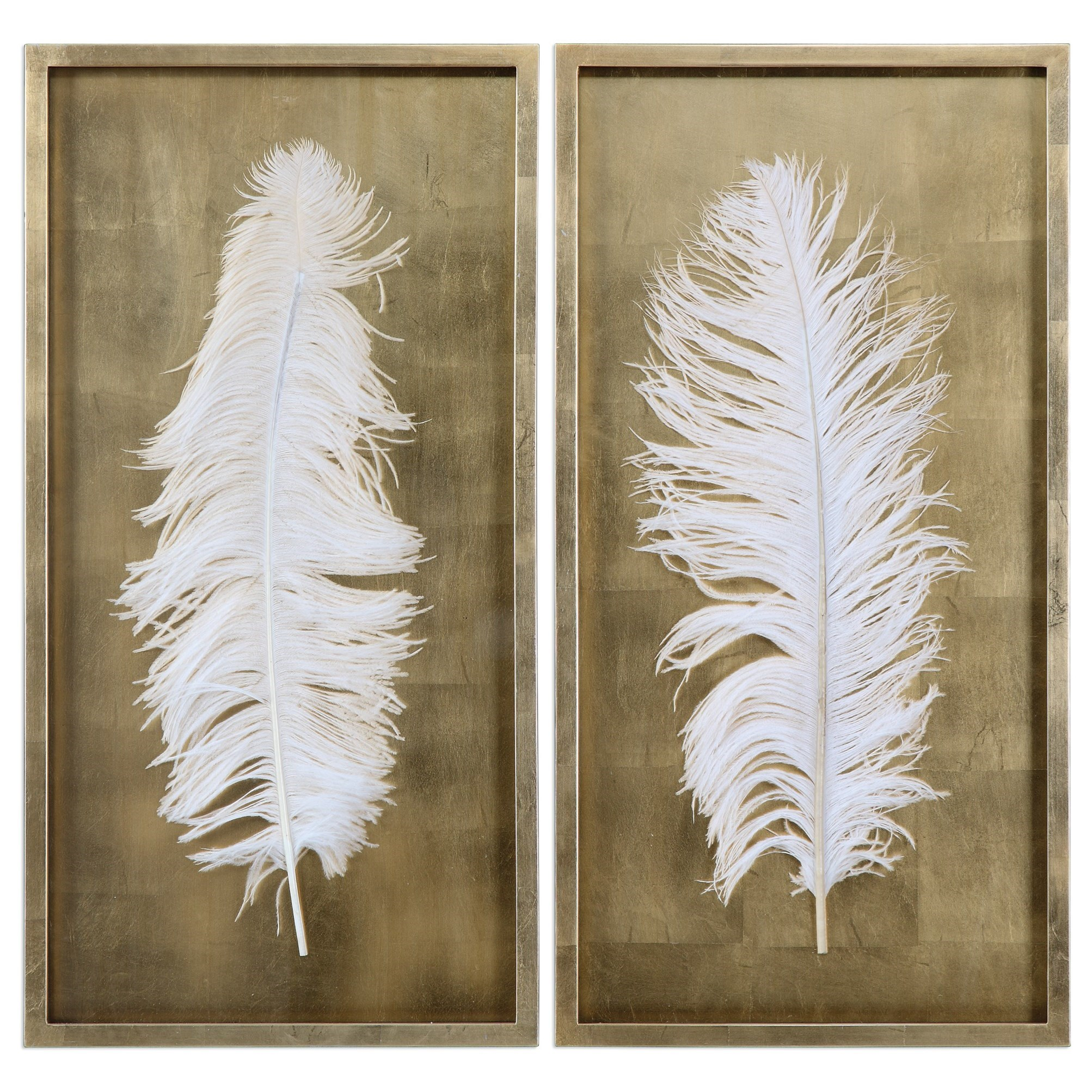Uttermost Alternative Wall Decor White Feathers (Set of 2) - Item Number: 04057