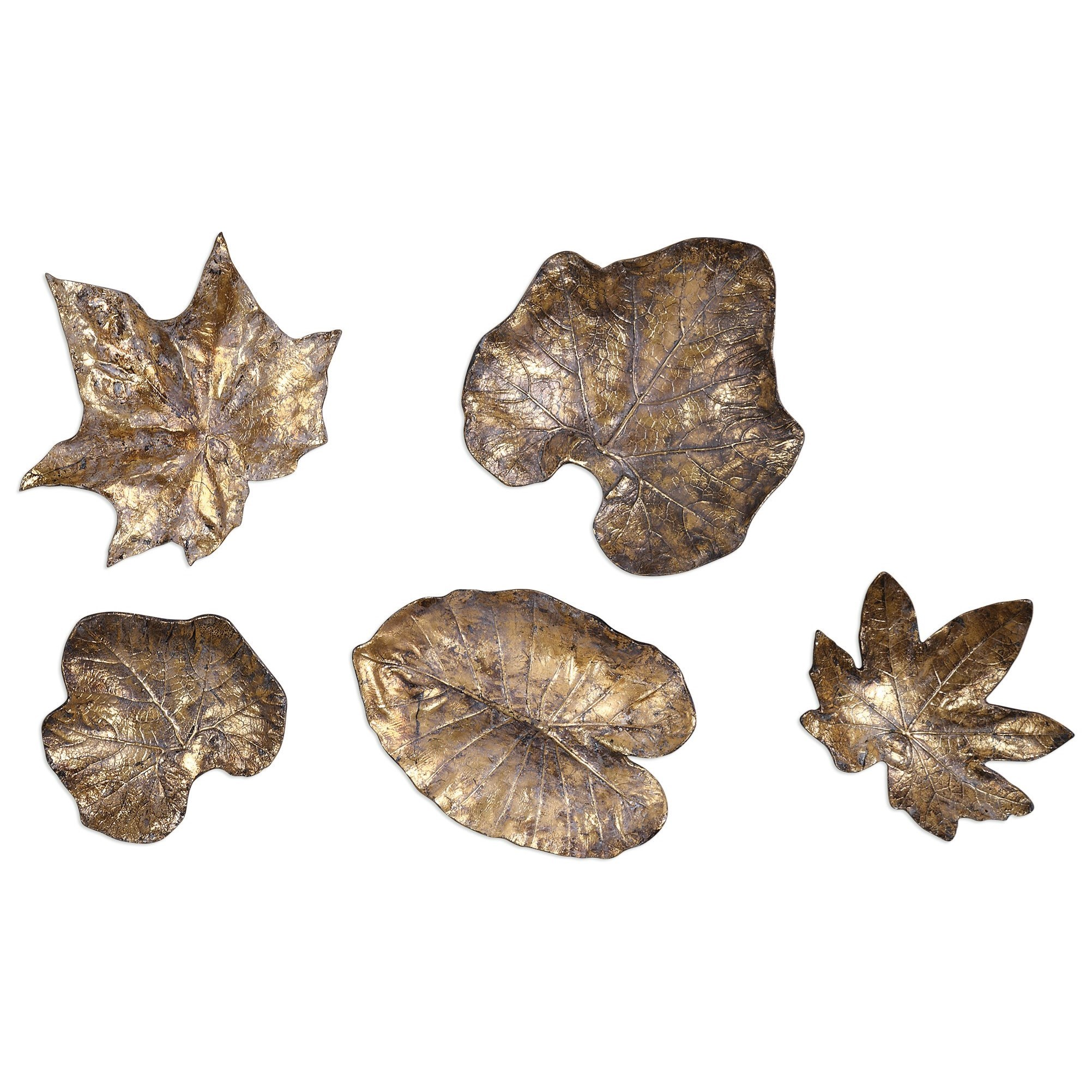 Uttermost Alternative Wall Decor  Bronze Leaves Wall Art (Set of 5) - Item Number: 04063