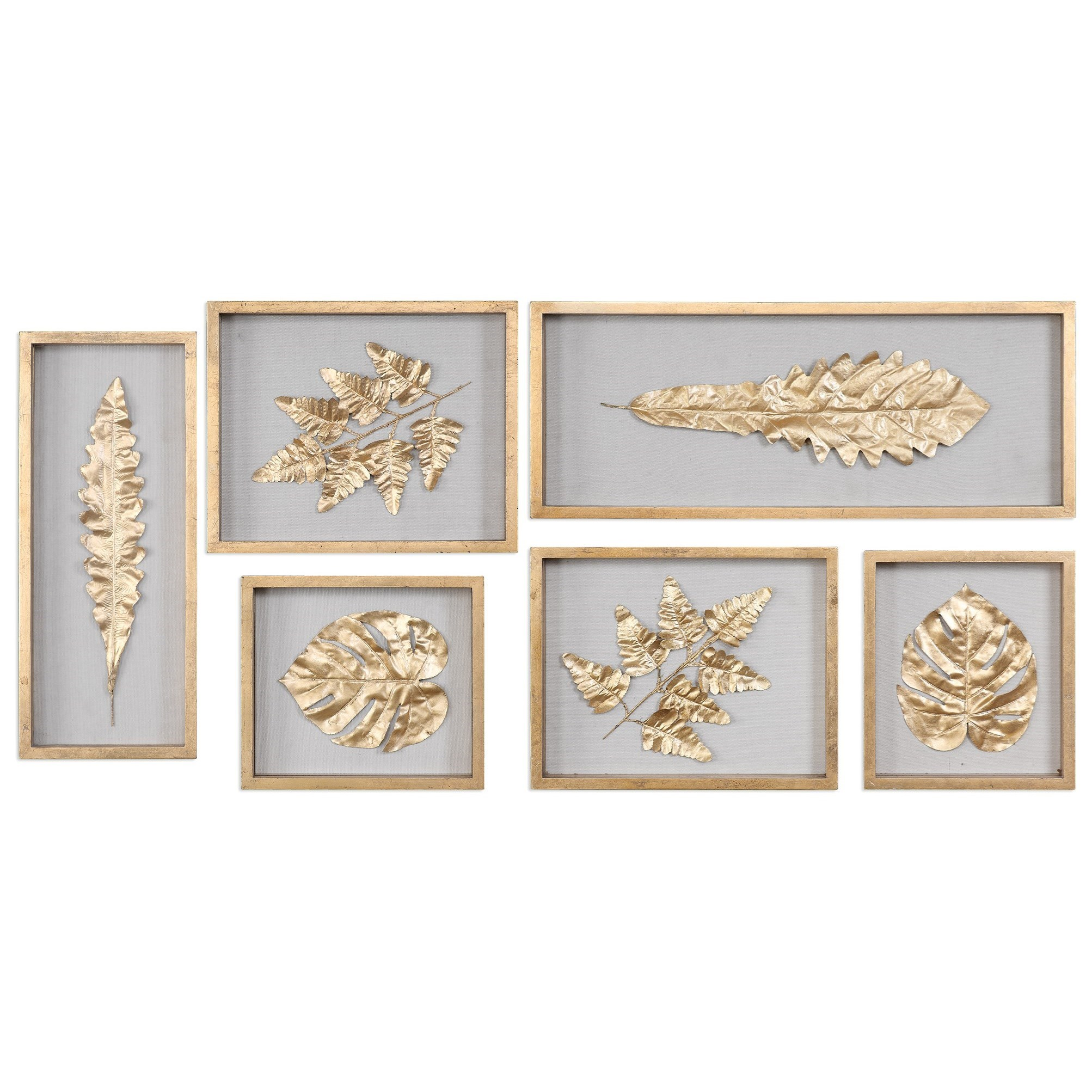 Uttermost Alternative Wall Decor  Golden Leaves Shadow Box (Set of 6) - Item Number: 04074