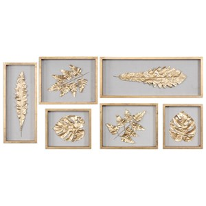 Uttermost Alternative Wall Decor  Golden Leaves Shadow Box (Set of 6)