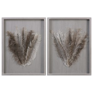 Uttermost Alternative Wall Decor  Jalana Ostrich Feathers Shadow Box (Set of
