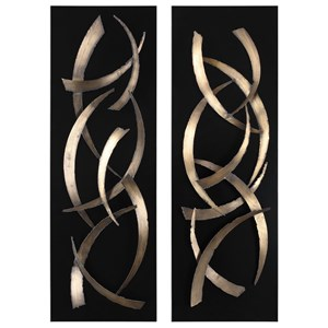Brushstrokes Metal Wall Art, S/2