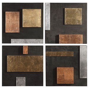Mixed Metals Wall Art, S/4