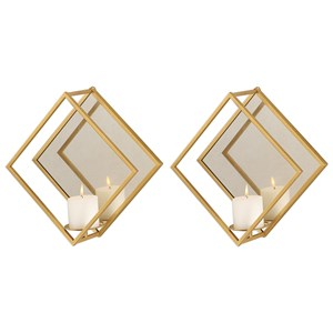 Zulia Gold Candle Sconces, S/2