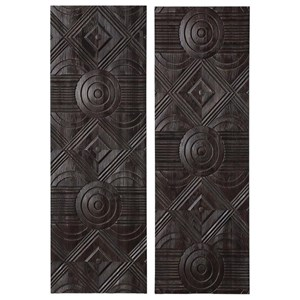 Asuka Carved Wood Wall Panels, Set/2