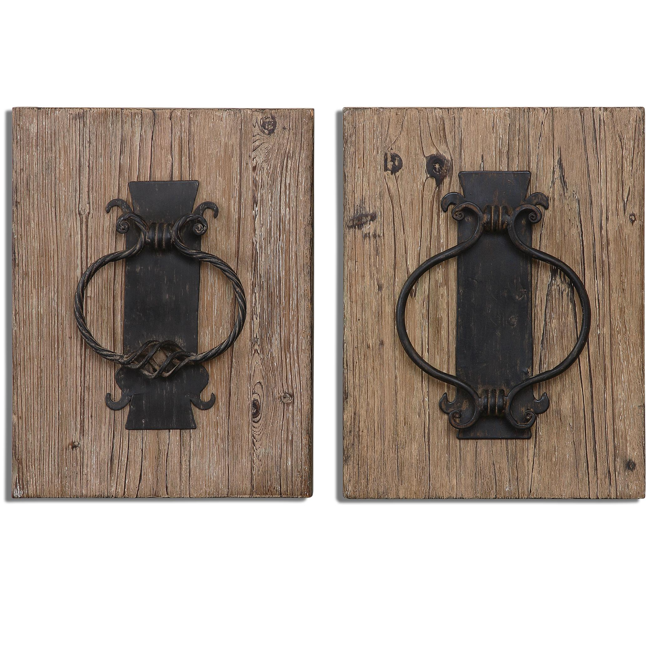 Uttermost Alternative Wall Decor Rustic Door Knockers Wall Art, Set of  2 - Item Number: 07654