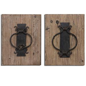 Uttermost Alternative Wall Decor Rustic Door Knockers Wall Art, Set of  2