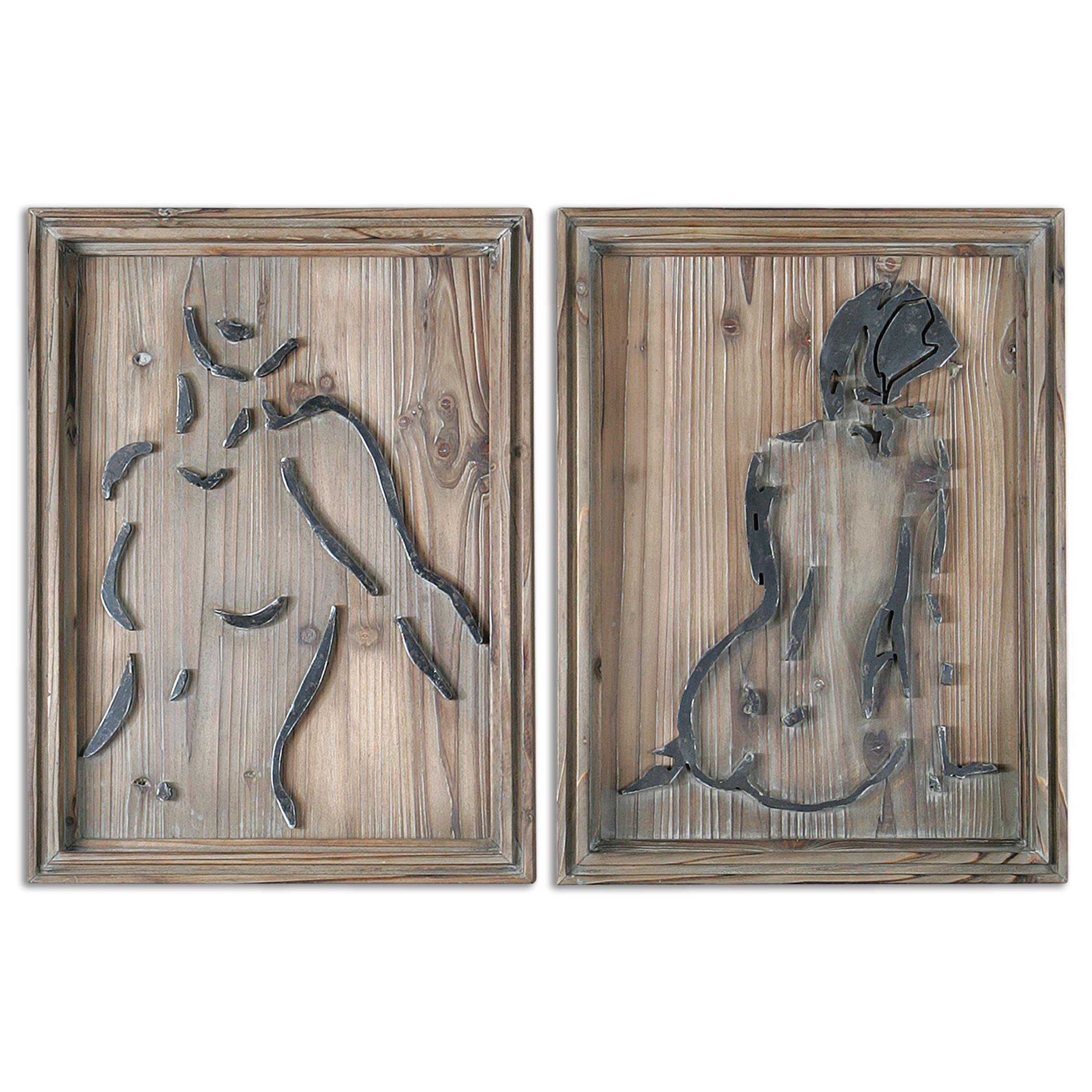 Uttermost Alternative Wall Decor Silhouettes Wood Wall Art S/2 - Item Number: 07690