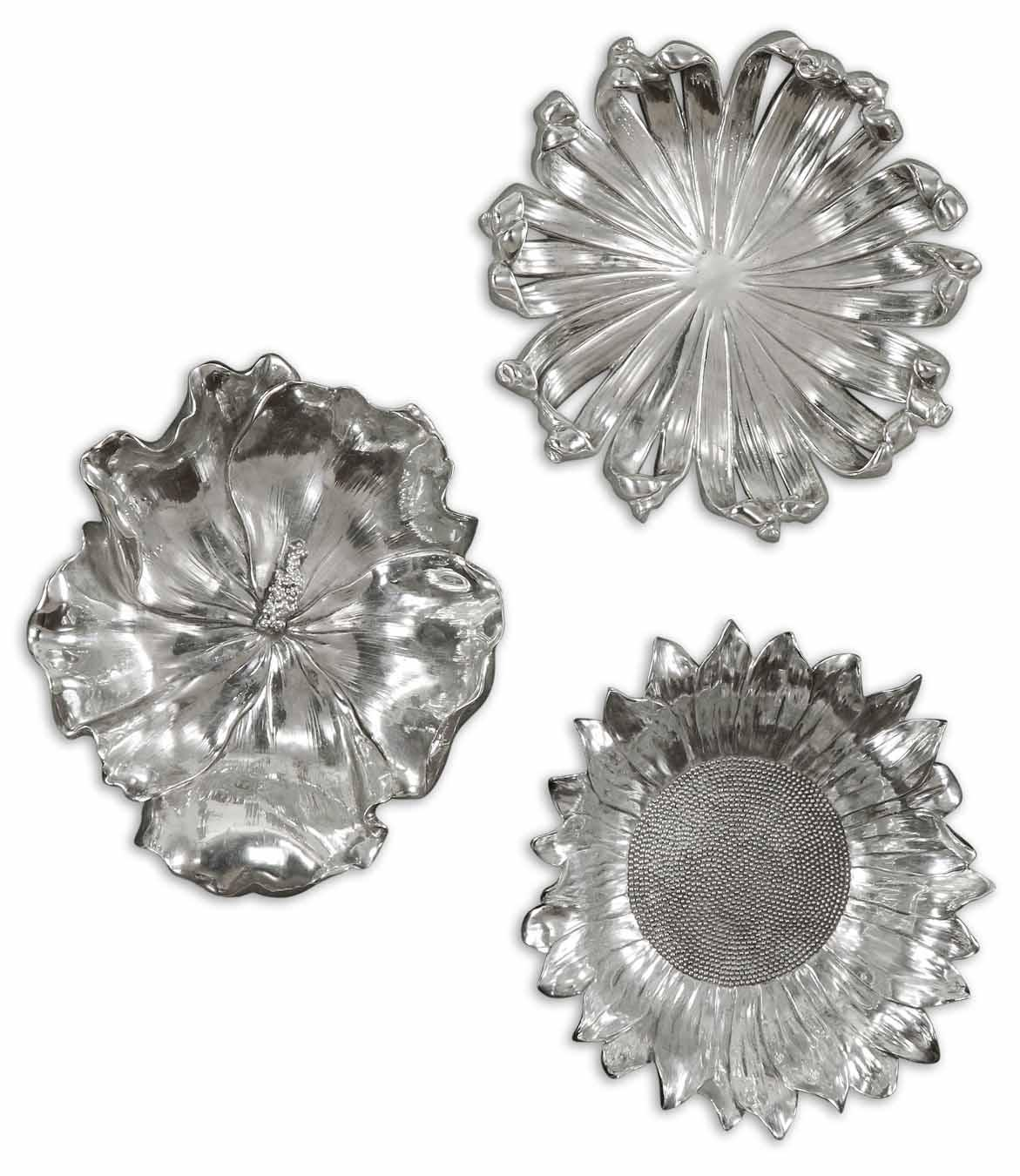 Uttermost Alternative Wall Decor Silver Flowers Set of 3 - Item Number: 08503
