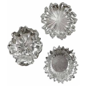 Uttermost Alternative Wall Decor Silver Flowers Set of 3