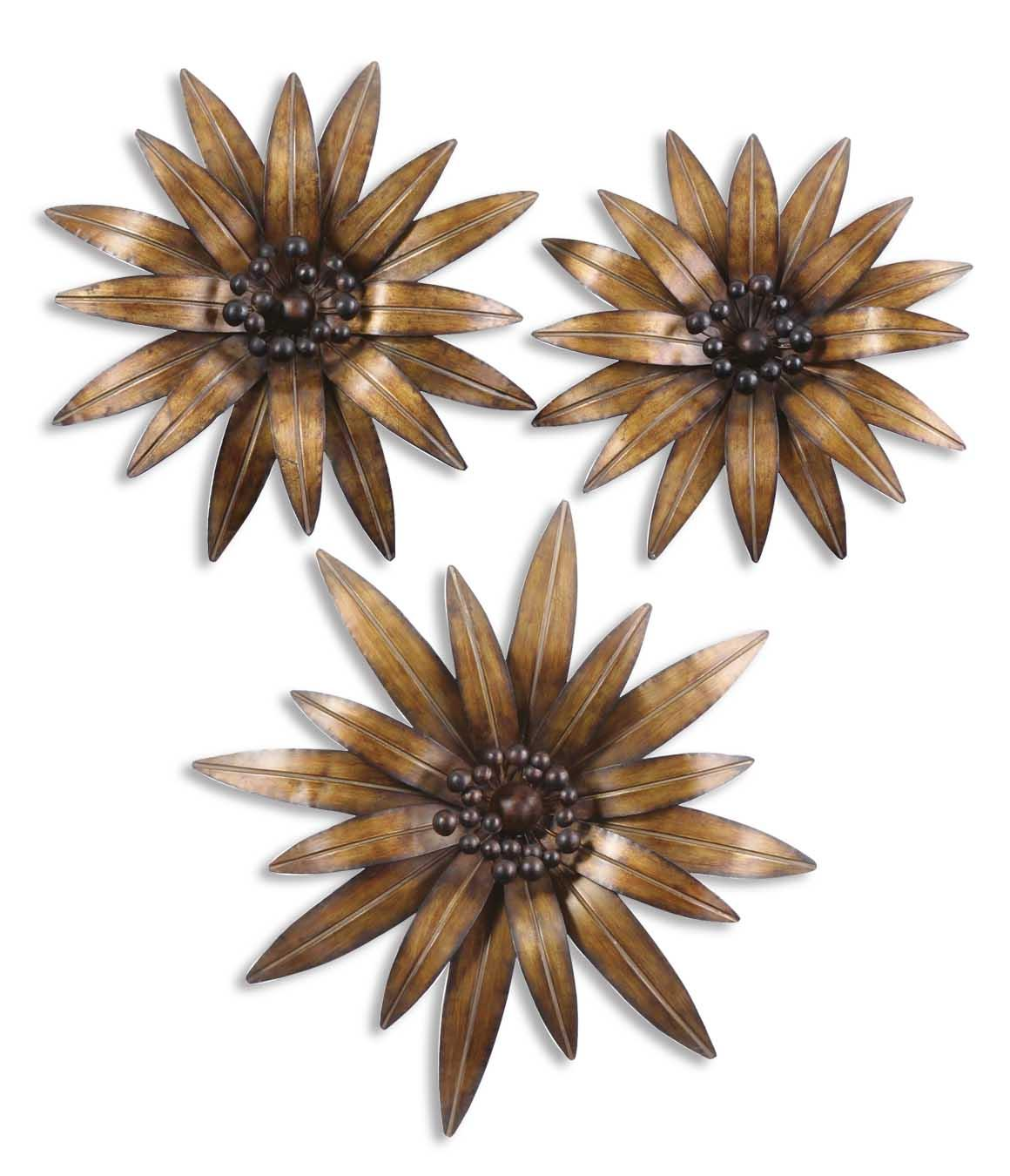 Uttermost Alternative Wall Decor Golden Gazanias Set of 3 - Item Number: 13479