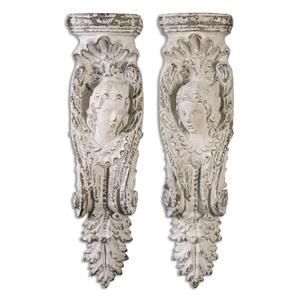 Uttermost Alternative Wall Decor Angelic Stone Ivory Shelves, S/2