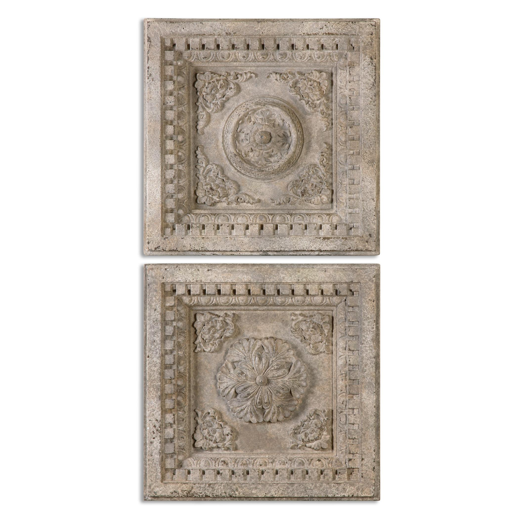 Uttermost Alternative Wall Decor Auronzo Aged Ivory Squares, S/2 - Item Number: 13910