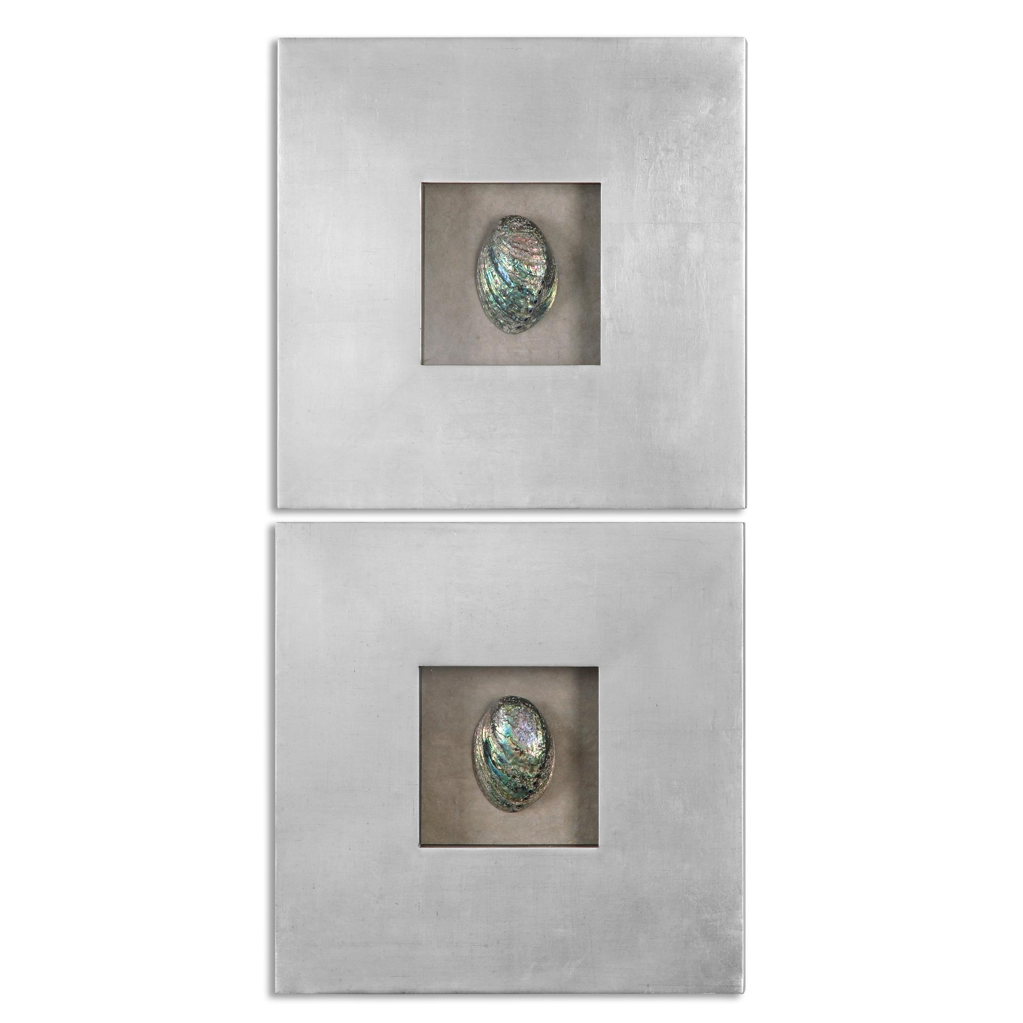 Uttermost Alternative Wall Decor Abalone Shells Silver Wall Art, S/2 - Item Number: 14544