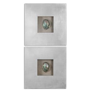Uttermost Alternative Wall Decor Abalone Shells Silver Wall Art, S/2