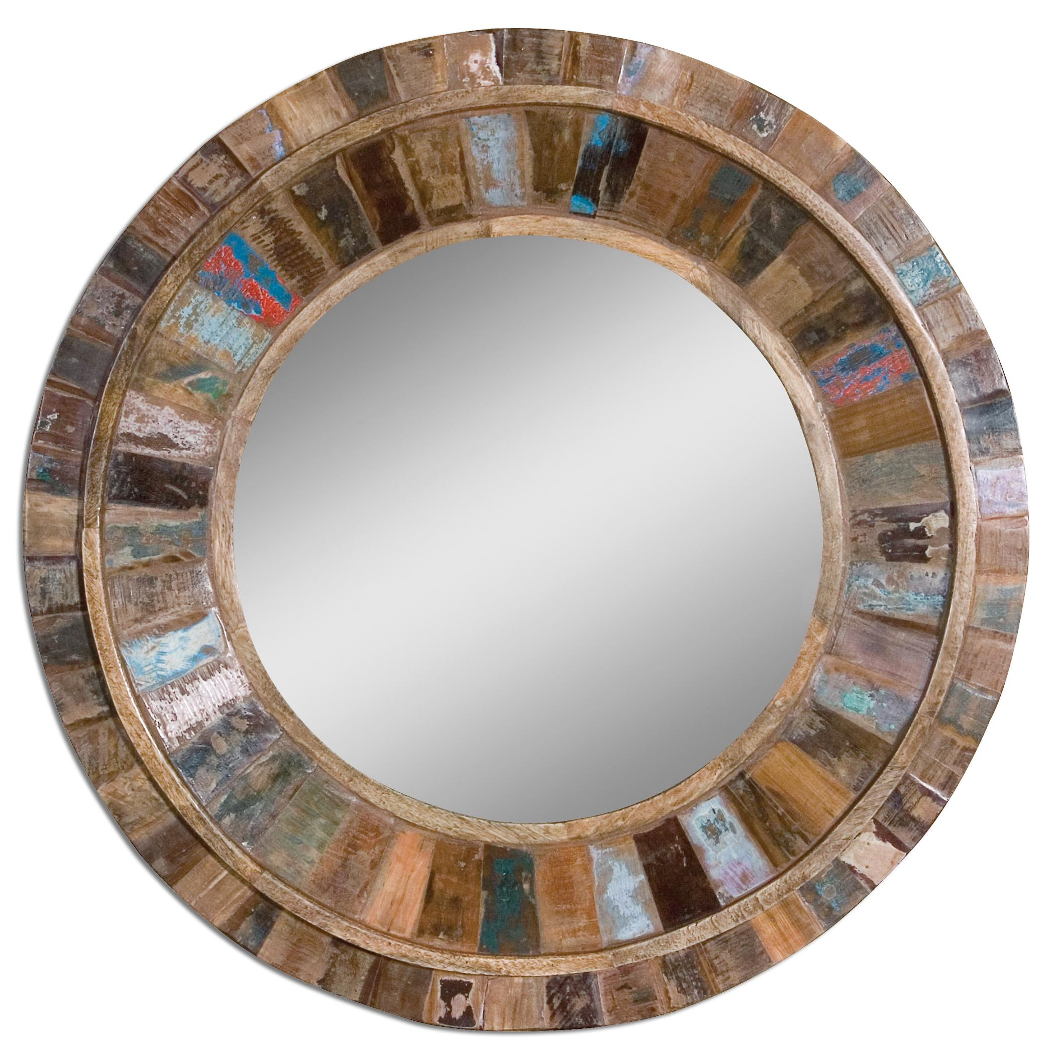 Uttermost Mirrors Jeremiah Round Wood Mirror - Item Number: 04017