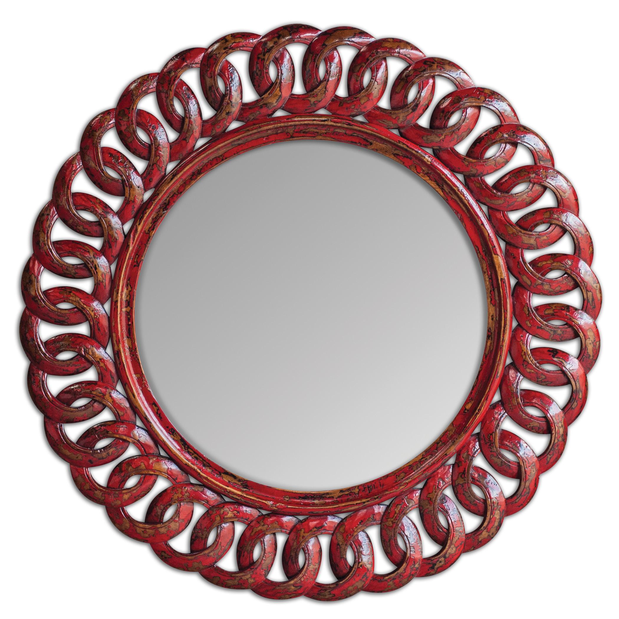 Uttermost Mirrors Sassia Red Round Mirror - Item Number: 05029