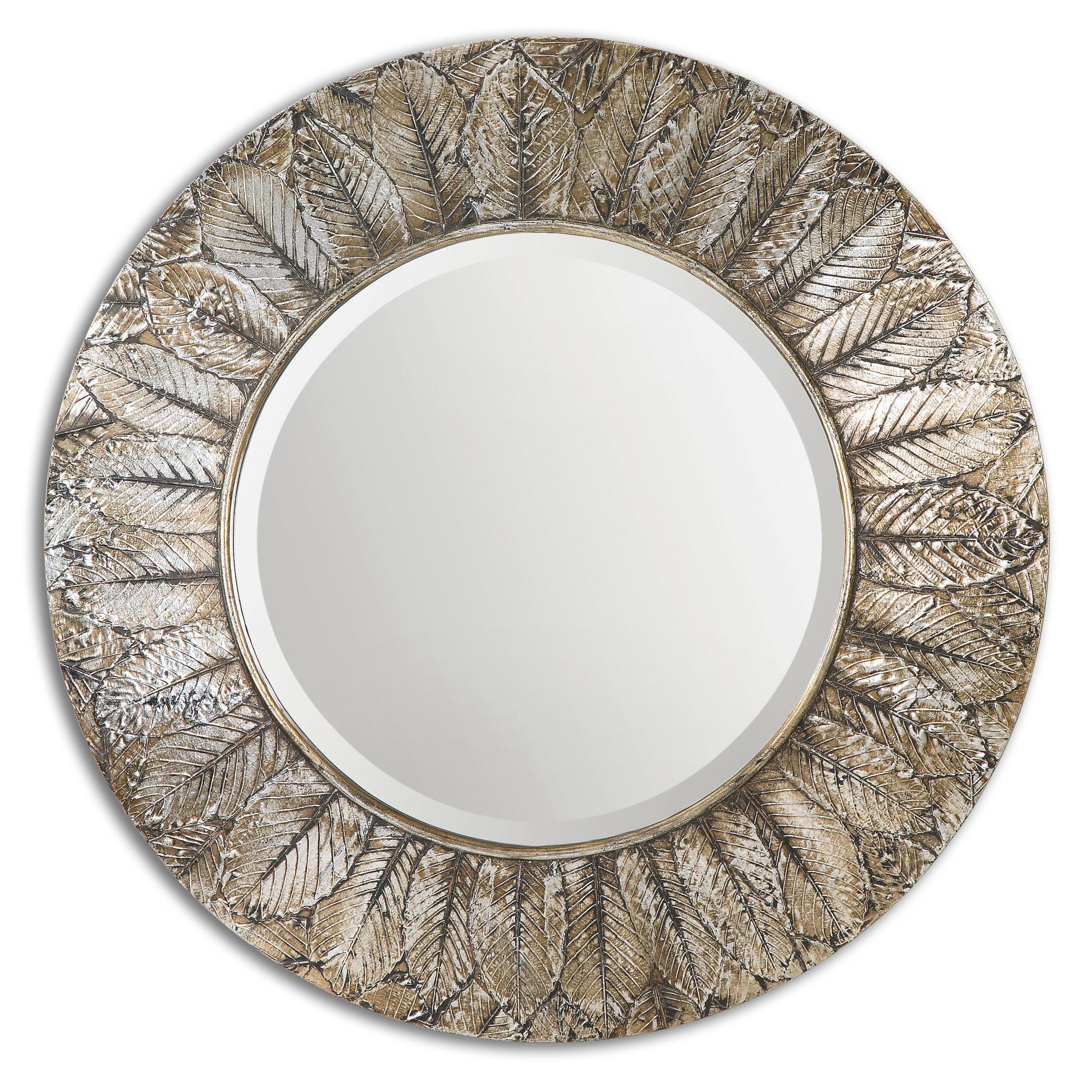Uttermost Mirrors Foliage Round Silver Leaf Mirror - Item Number: 07065