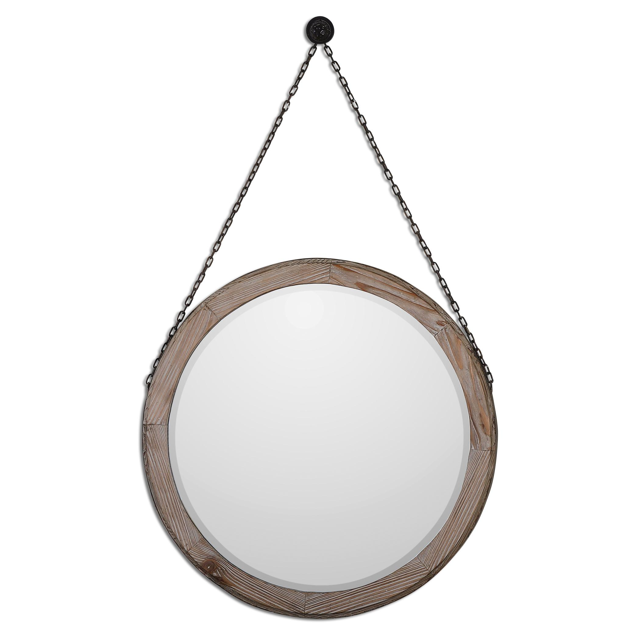 Uttermost Mirrors Loughlin Round Wood Mirror - Item Number: 07656