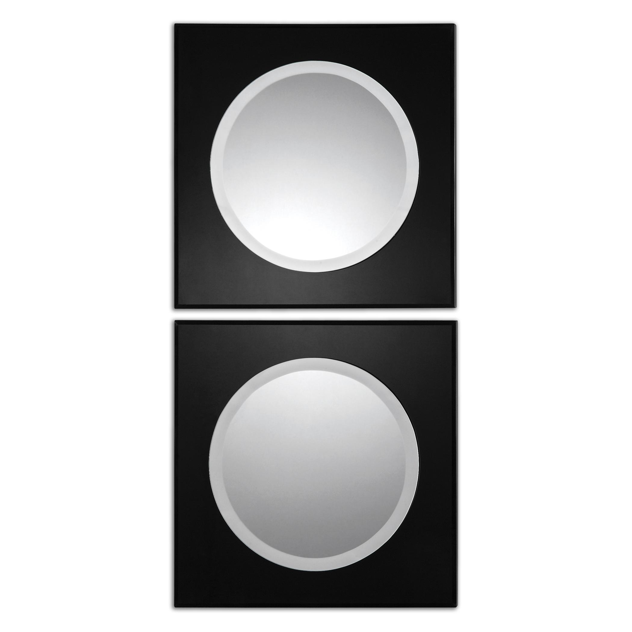 Uttermost Mirrors Girard Black Square Mirrors Set of 2 - Item Number: 08118
